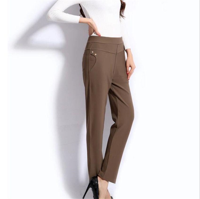 MLCRIYG nouveau printemps Avec l'augmentation de deux nail graisse crayon pantalon taille haute Plus La taille loisirs pantalon