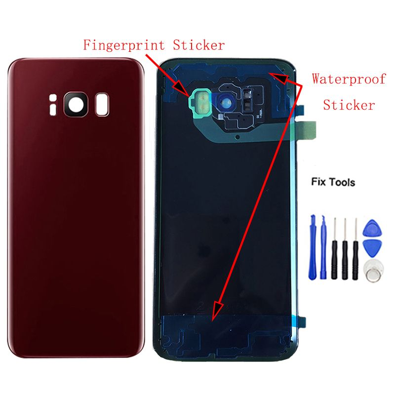 LOVAIN 1Pcs For Samsung Galaxy S8 Plus G955 Back Battery Cover Rear Door Housing Case+Camera Lens Adhesive Sticker IMEI Print