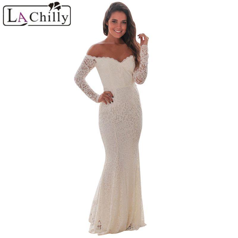 La Chilly robe dentelle ganchillo blanco Encaje hombro Maxi noche vestido de fiesta de manga larga invierno lc61847 vestido de invierno