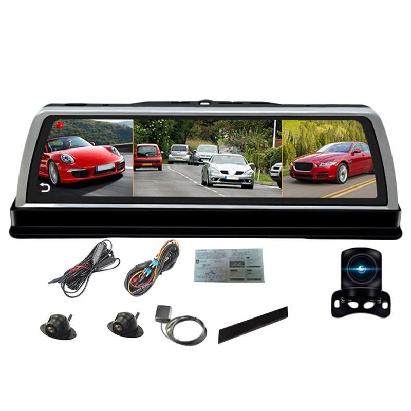 10 zoll Auto Center Konsole Spiegel Dvr Dashcam 4G 4 Kanal Adas Android Gps Wifi Fhd 1080P Hinten objektiv Video Recorder
