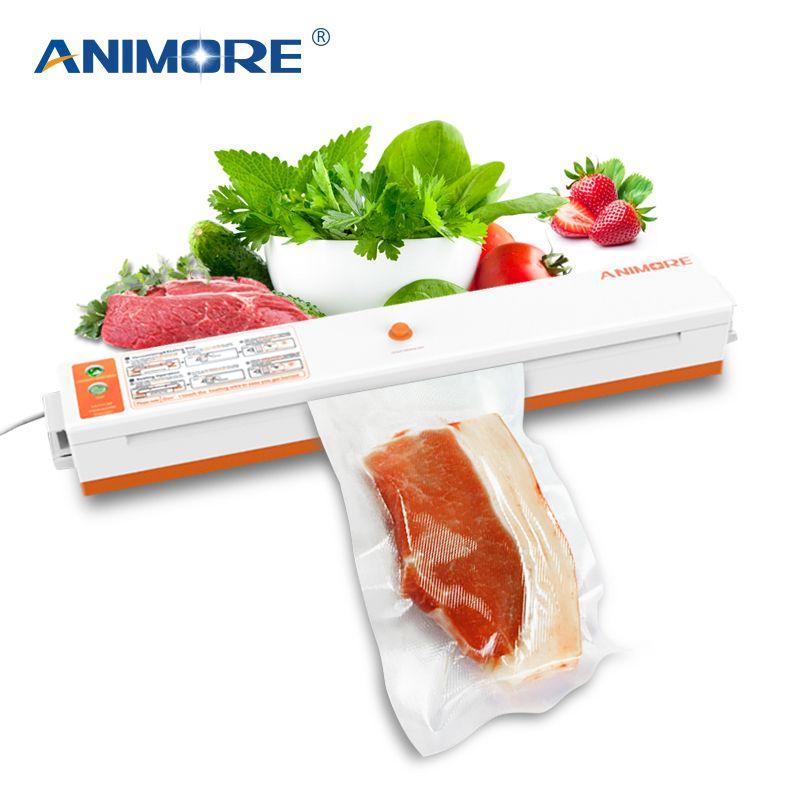 ANIMORE Ménage Vide scellant alimentaire US-110V/EU-220V machine d'emballage Film Scellant emballeur sous vide Y Compris 10 pièces Sacs VFS-02C