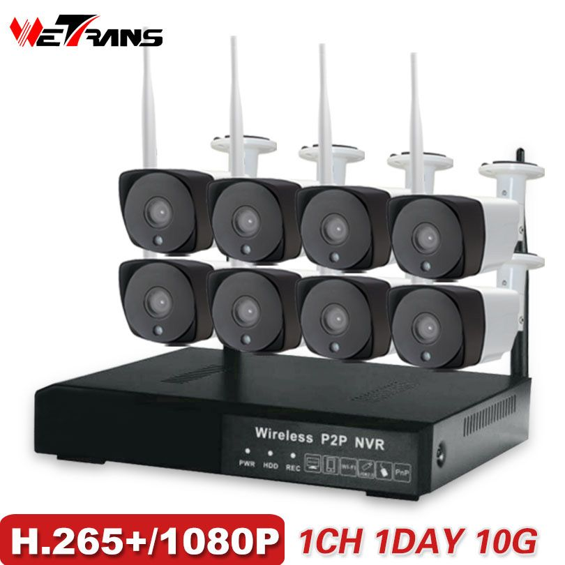 CCTV Camera System H.265+ 8CH Wireless 1080P HD 20m Night Vision P2P Waterproof Home Security Wifi Outdoor IP Camera System