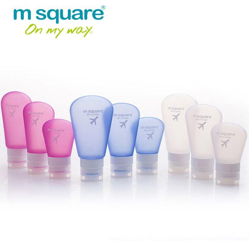 Accessoire de voyage carré M pour contenants cosmétiques vides bouteille de compression en plastique bouteille de Silicone rechargeable étanche Tube vide