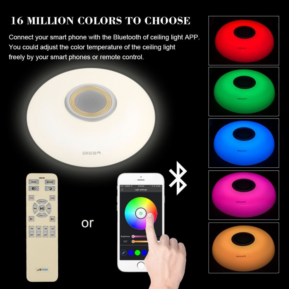 LED modern celling lighting light RGB Dimmable 80W 220V With APP control Smart Bluetooth Led Music ceiling chandelie for room