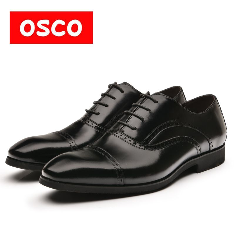 OSCO Factory direct New Arrival Top Quality Business Casual Leather manShoes MenOxfords Classic Dress Wedding Shoes #RU0006