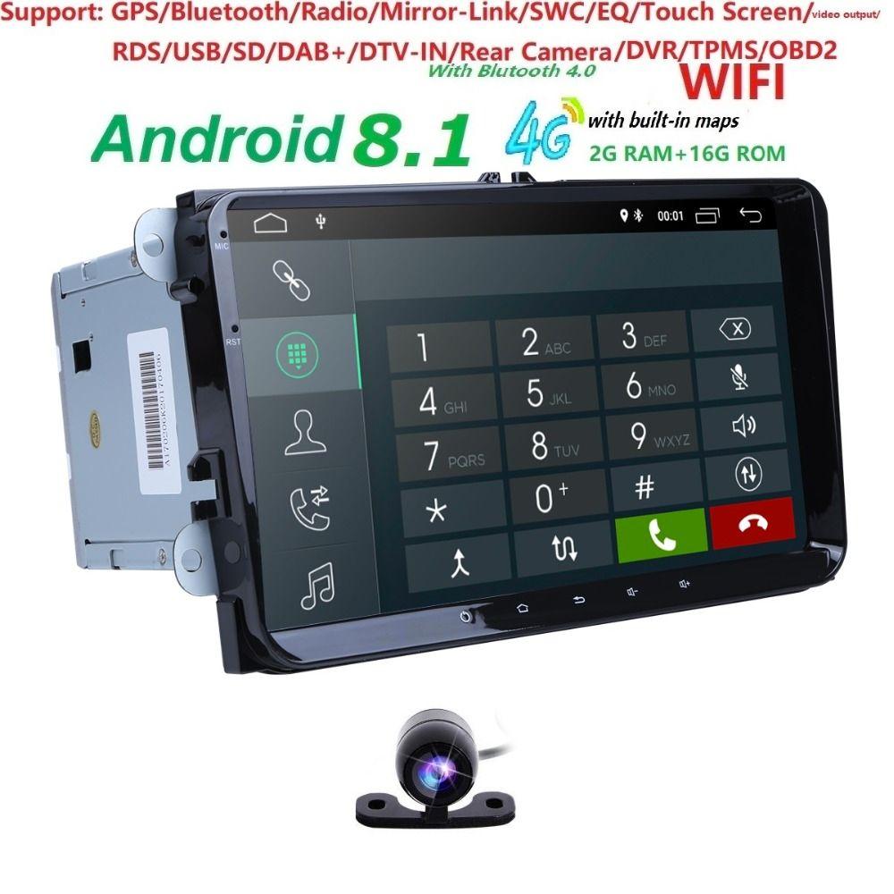 2 Din 9 zoll QuadCore Android 8.1 auto dvd GPS für V W Polo J etta Tiguan passat b6 cc fabia spiegel link 4g wifi Radio BT in dash