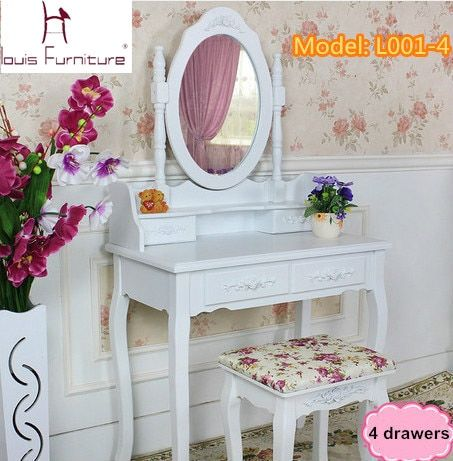 White Ivory colored Queen Anne style dresser  Make Up dressing table  vanity set with  swivel oval mirror  and stool