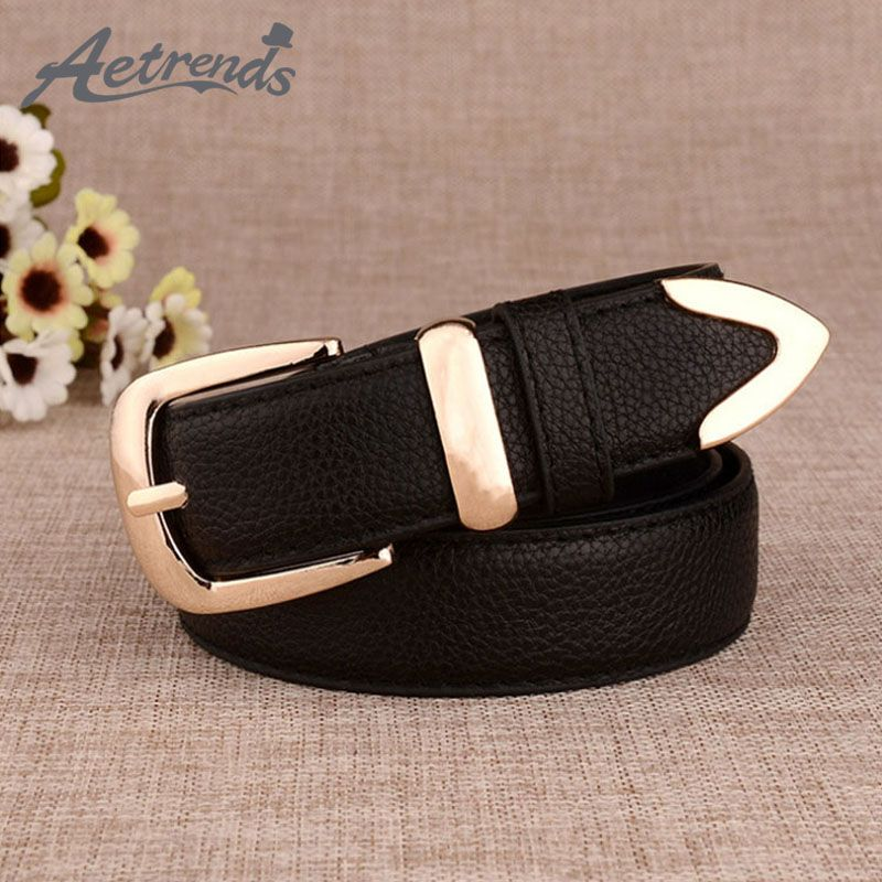 [AETRENDS] PU Leather Fashion Brand Designer Belts for Women Buckle Belt Clothes Accessories Z-2389