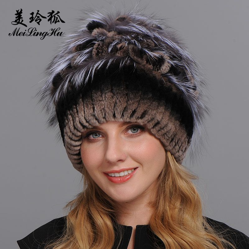 Winter Fur Hat for Women Real Rex Rabbit Fur Hats with Silver Fox Fur Flower Knitted Beanies Caps New High-end Women Fur Cap