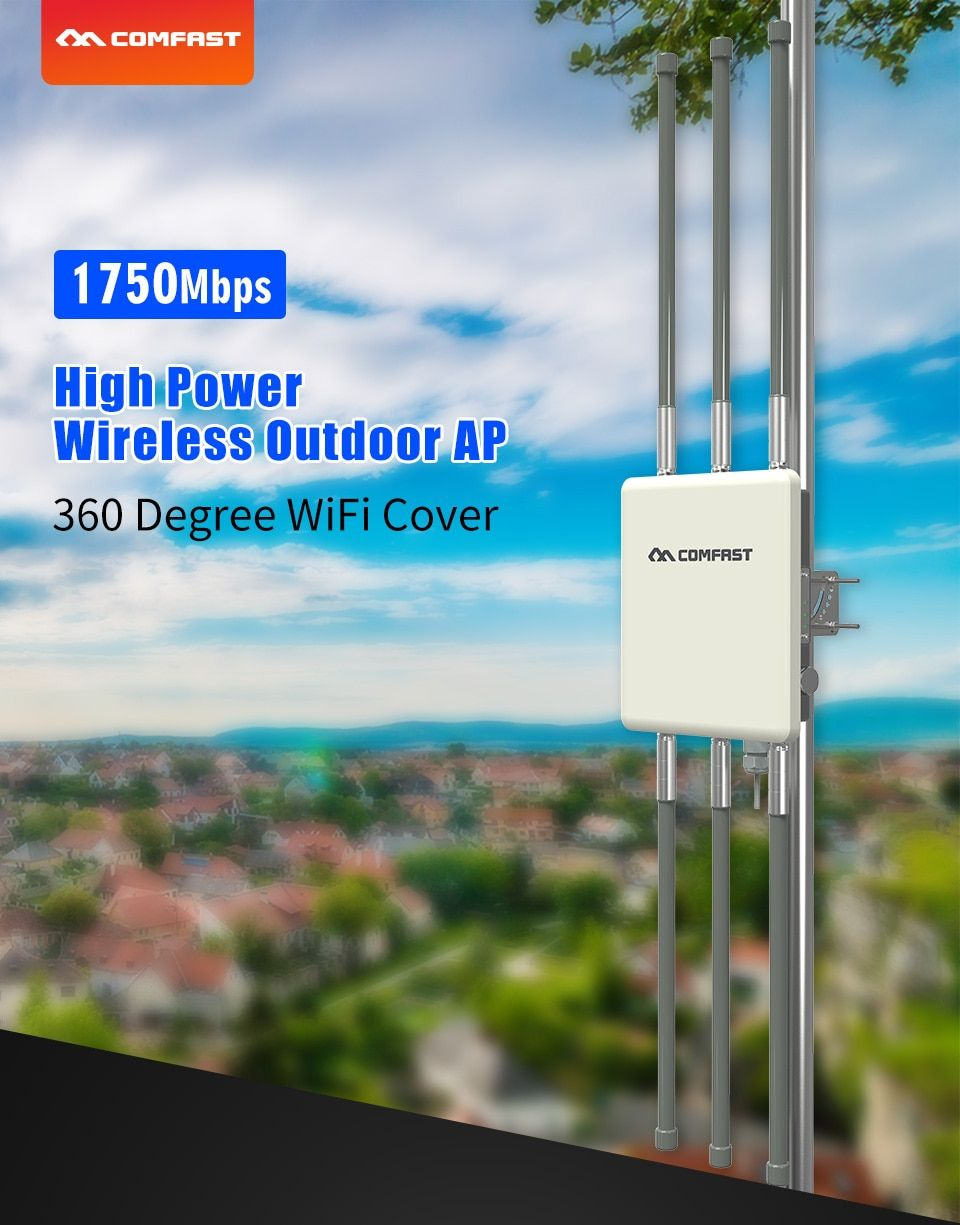 COMFAST 1750Mbps Wireless Outdoor AP Dual Band 5Ghz 2.4Ghz 360 Degree WiFi Cover Access Point Wifi Base Station POE CF-WA900 V2