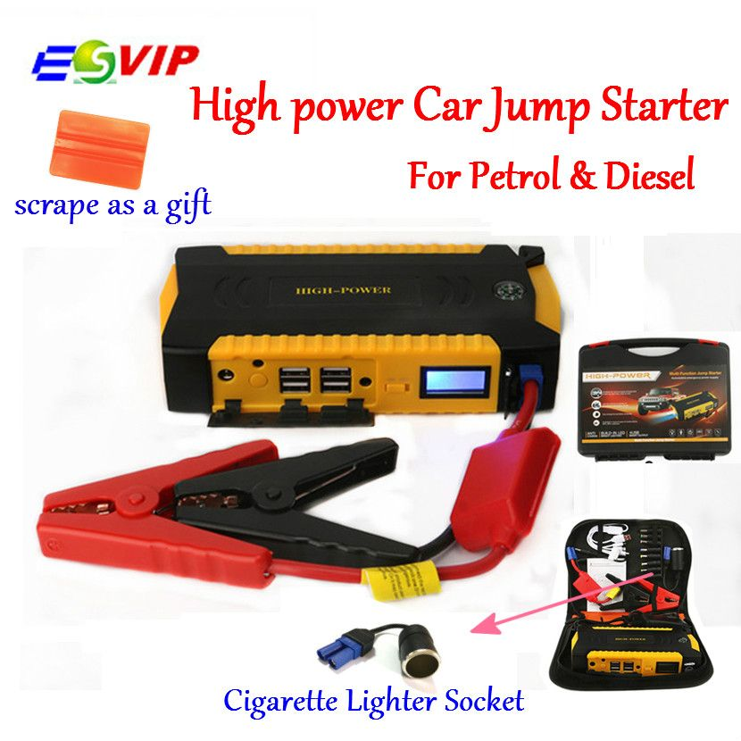 Jump Starter Booster Car Battery Emergency Car Starting and Charging System with 16000mAh 600A Peak Current Smart Power Clips