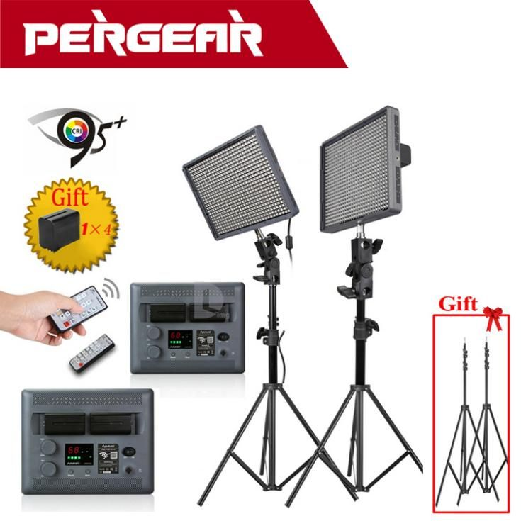 Aputure Amaran HR672C 95+ LED Studio Video Light Adjustable Color Temperature+2.4G Wireless Remote+Batteries Light Stand as Gift