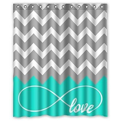 Forever Love Symbol Turquoise Grey White Waterproof Bathroom Fabric Shower Curtain,Bathroom decor