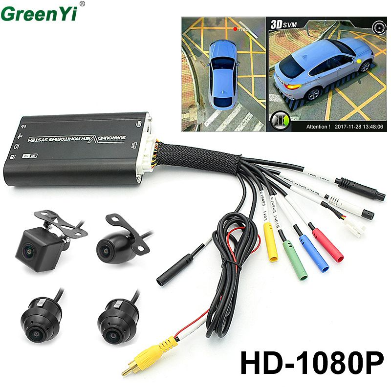 GreenYi 3D HD 360 Car Surround View Monitoring System , Bird View System, 4 DVR Cameras HD 1080P Recorder Parking Monitoring