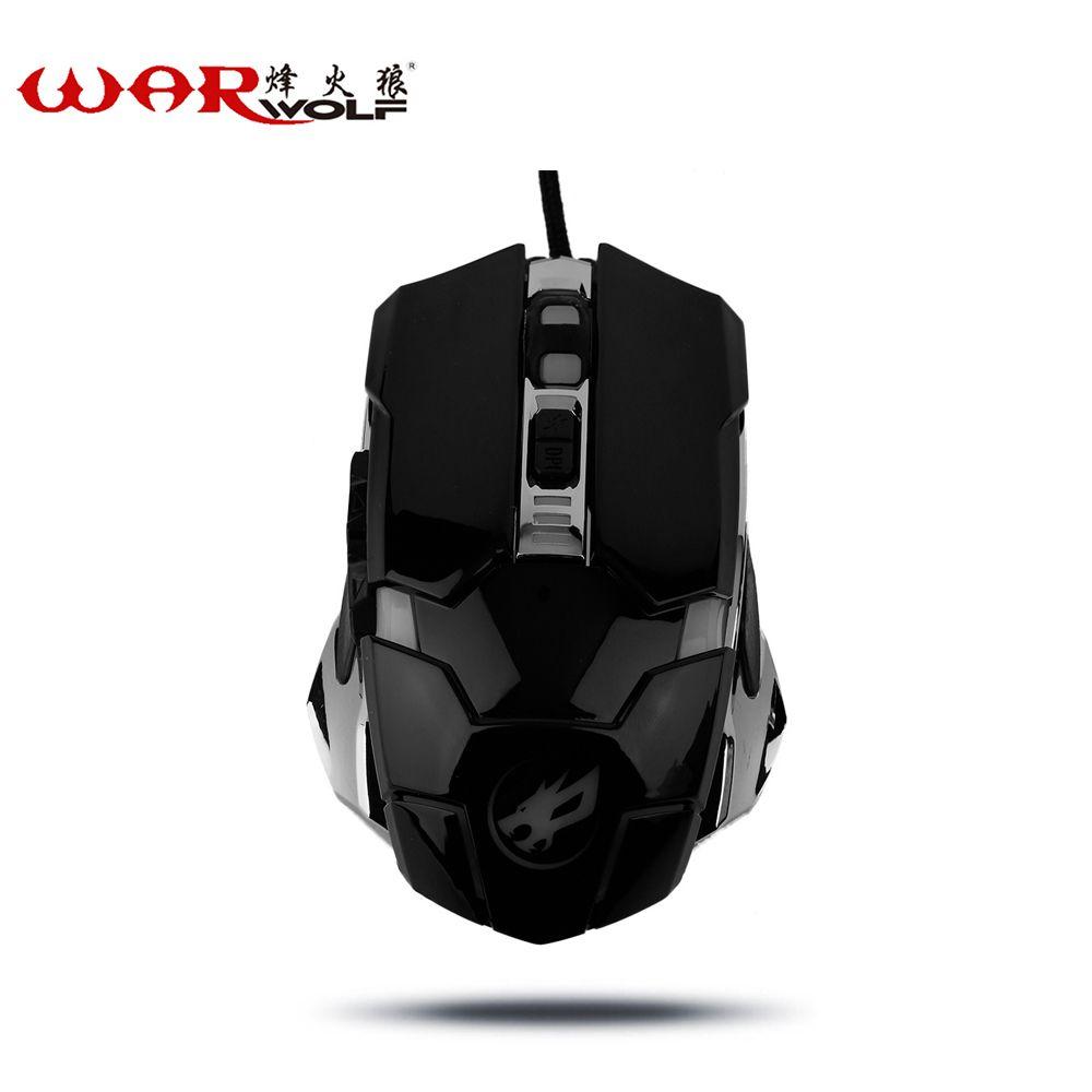 WarWolf Filaire Gaming Mouse 6 Boutons Optique Professionnel Souris Gamer Ordinateur Souris Pour Ordinateurs Portables Ordinateurs de Bureau Avec Rétro-Éclairage