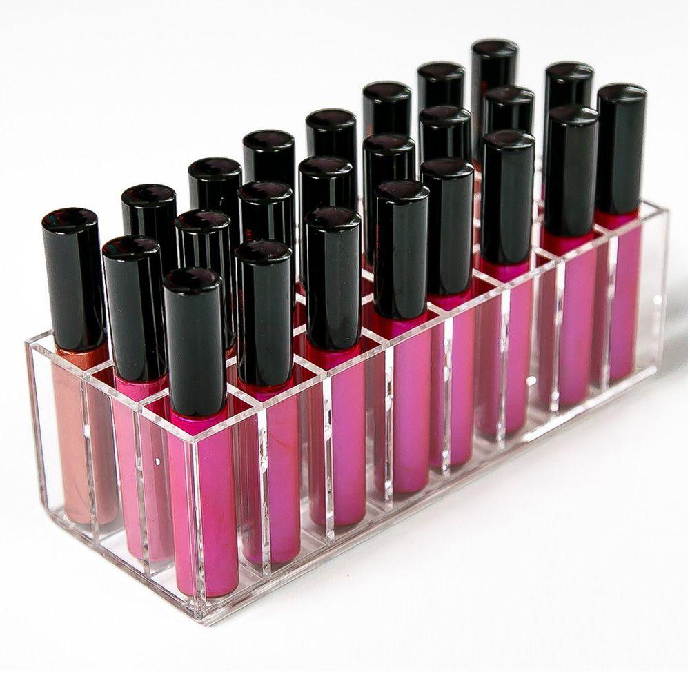 AILA Acrylique Brillant À Lèvres Titulaire 24 Slots Boîte Rouge À Lèvres Présentoir Divers Boîte De Rangement Cosmétique Maquillage Organisateur