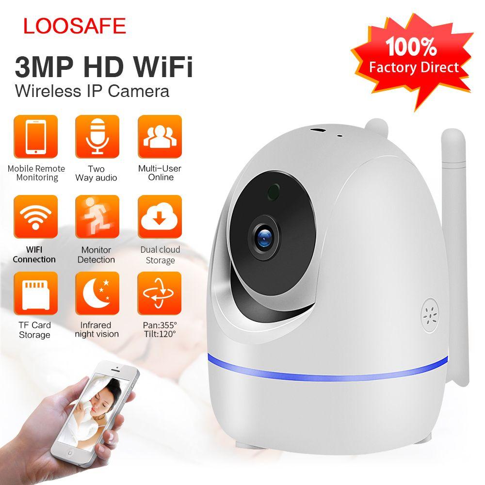 LOOSAFE 3.0MP sécurité à domicile caméra IP Wi-Fi sans fil Full HD bébé moniteur IRCut nuit IR automatique trackingPTZ nuage CCTV Cameas