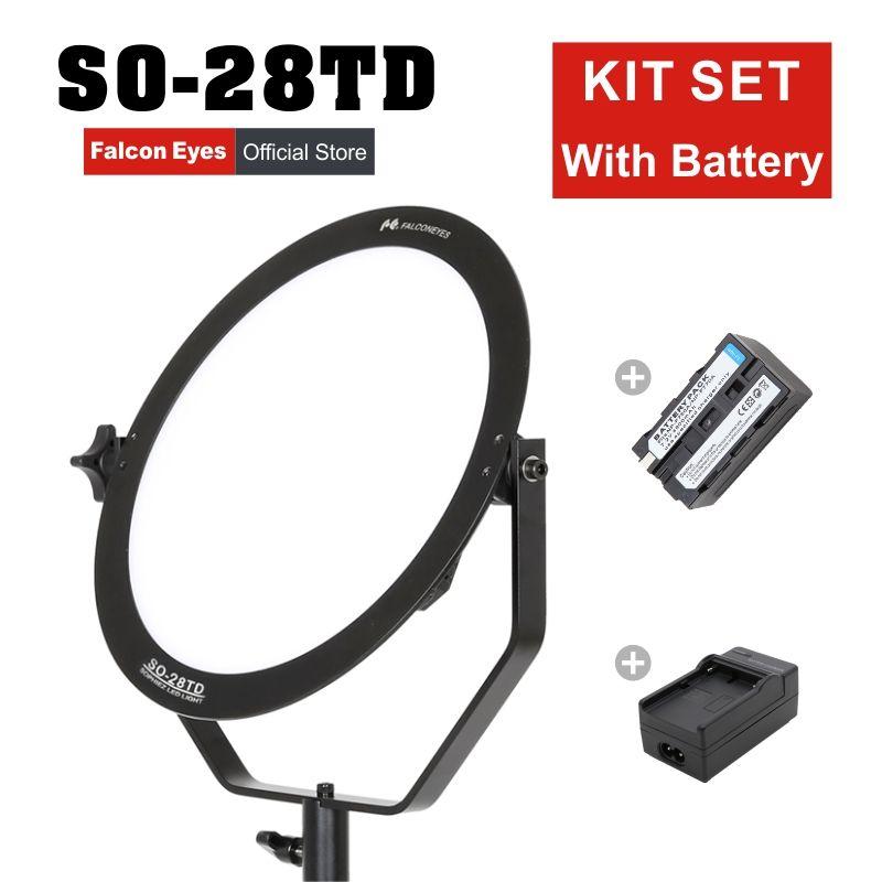 Falcon Eyes video light 28W led Fotografia panel lamp round soft Studio Light for film Advertisement shooting SO-28TD kit set