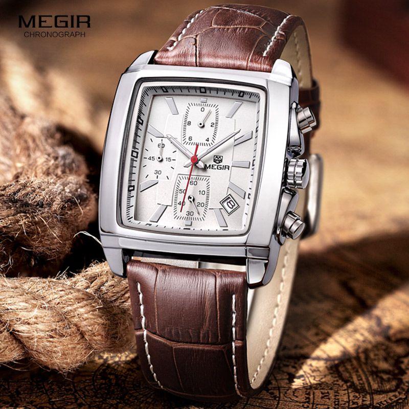 <font><b>megir</b></font> fashion casual military chronograph quartz watch men luxury waterproof analog leather wrist watch man free shipping 2028