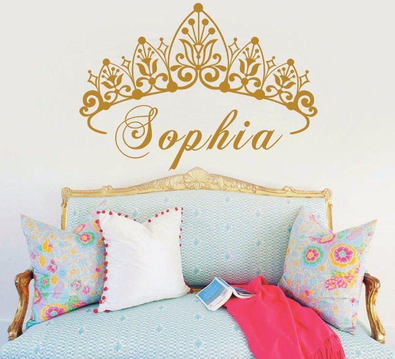 YOYOYU bébé fille couronne vinyle Art mur autocollant princesse personnalisé pépinière personnalisé filles nom Art chambre décoratif décalque Y-604