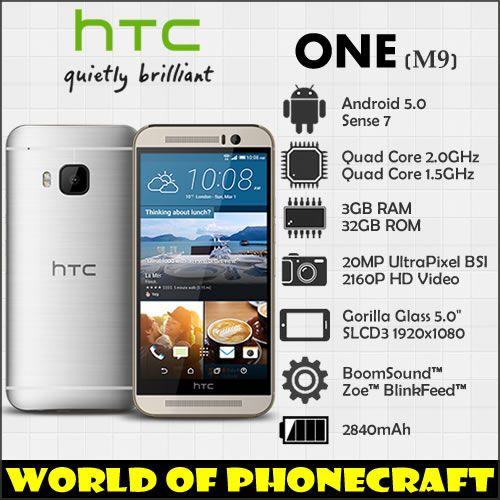 HTC one M9 Factory Unlocked Qualcomm Octa Core 3GB RAM 20MP Gorilla Glass 5