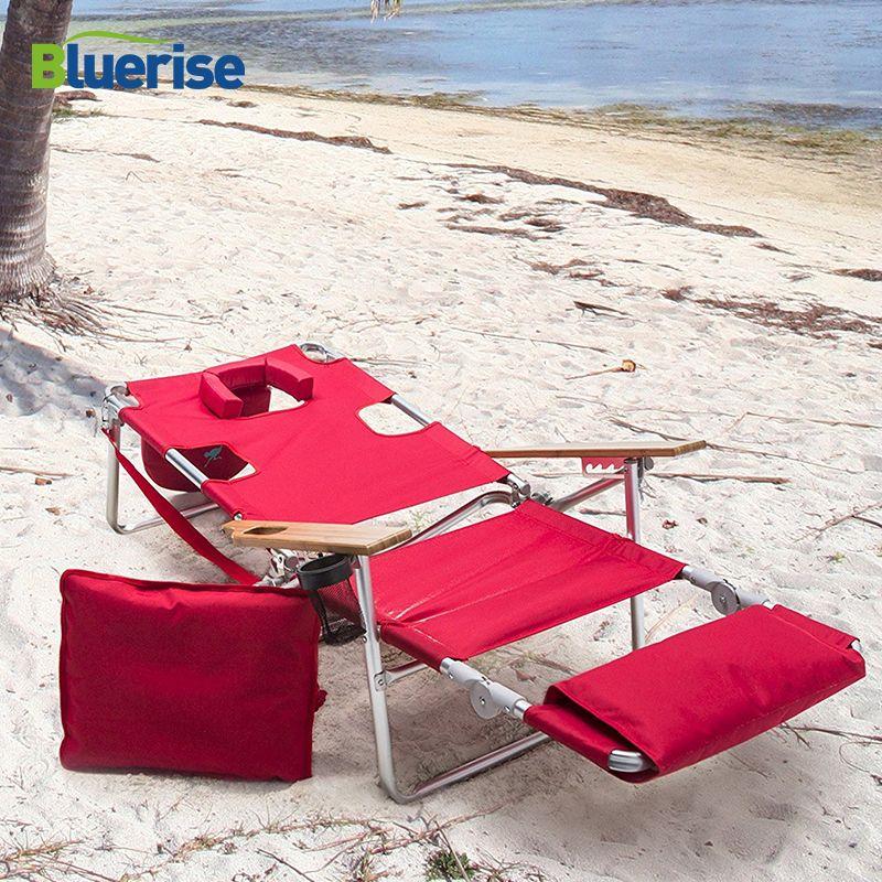 BLUERISE Deluxe Leichte falten Strandliege Extra breiten holz armlehne tragegurt getränkehalter wandelt leicht reclining