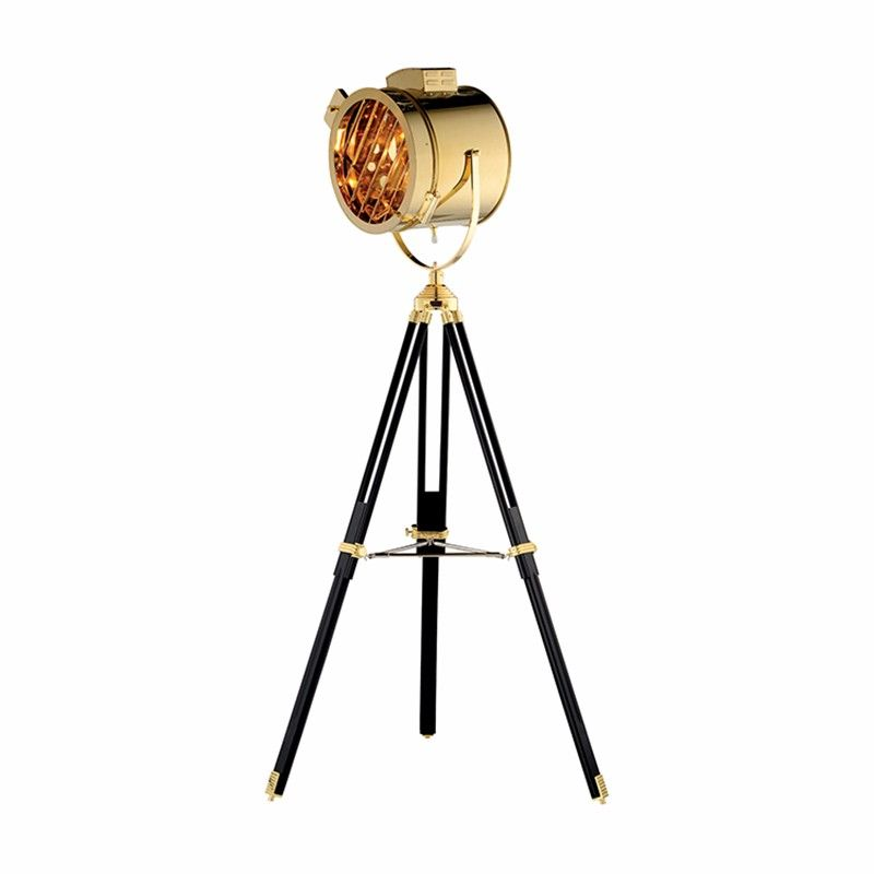 Morden Studio Searchlight floor lamp Silver Golden chrome color Metal Wooden Tripod Additional Net standing lamp home store deco