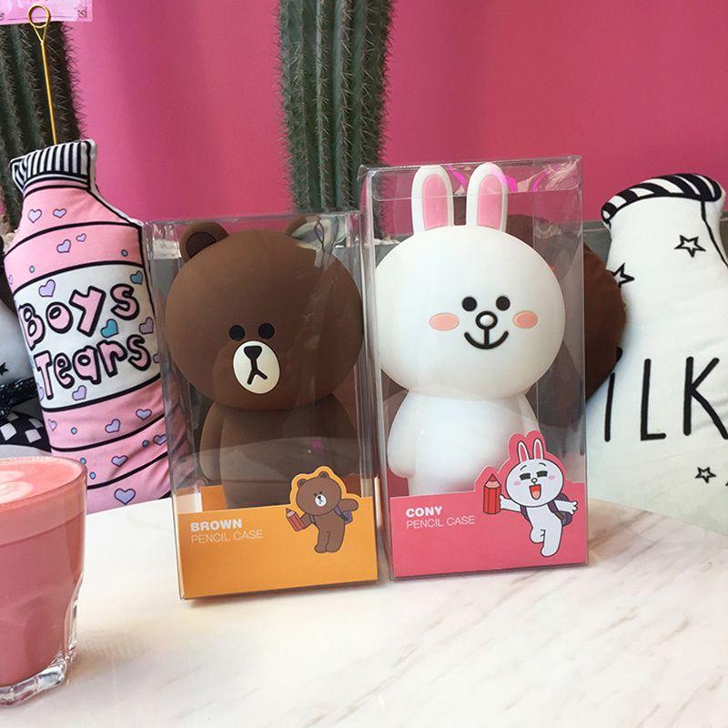 Kawaii Korean Stationery Cartoon Brown Bear Silica Gel Pencil Case Bag Cute Bunny Cony 3D Pencilcase Gifts For Girl Boy Kids