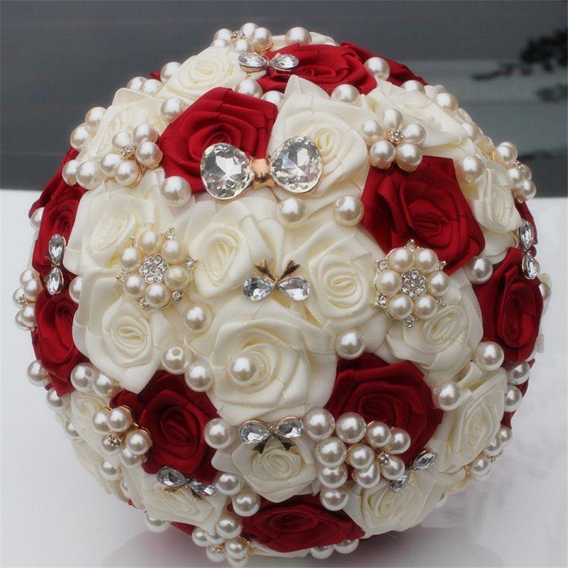 Personnalisé ivoire vin rouge soie fleur mariage Bouquet Bouquets de mariée élégante perle mariée demoiselle d'honneur artificielle Rose W128-3