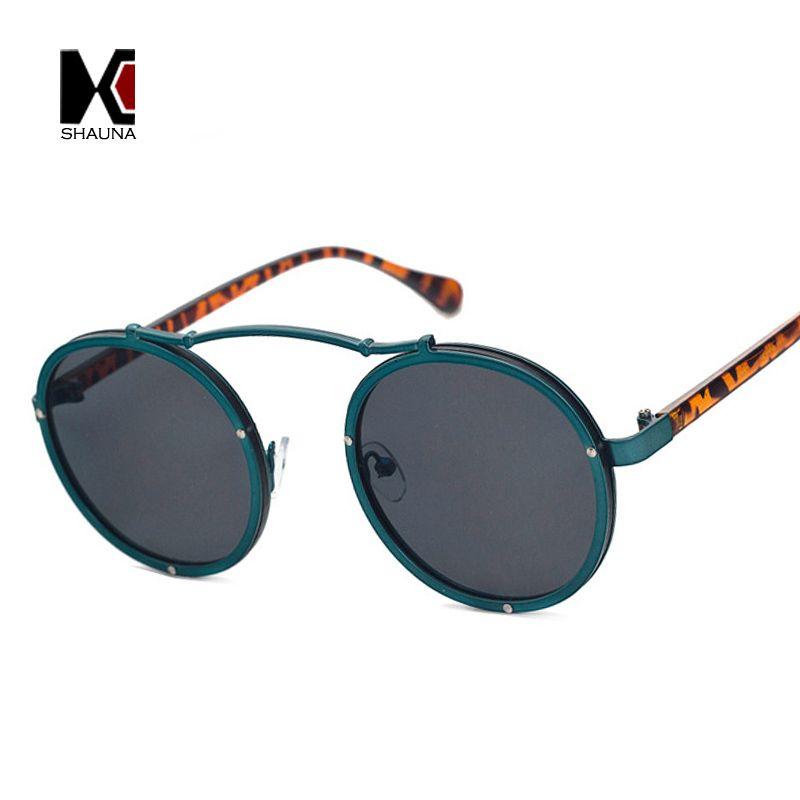 SHAUNA Popular Women Round Sunglasses Brand Designer Vintage Men Matte Frame Sun Glasses UV400