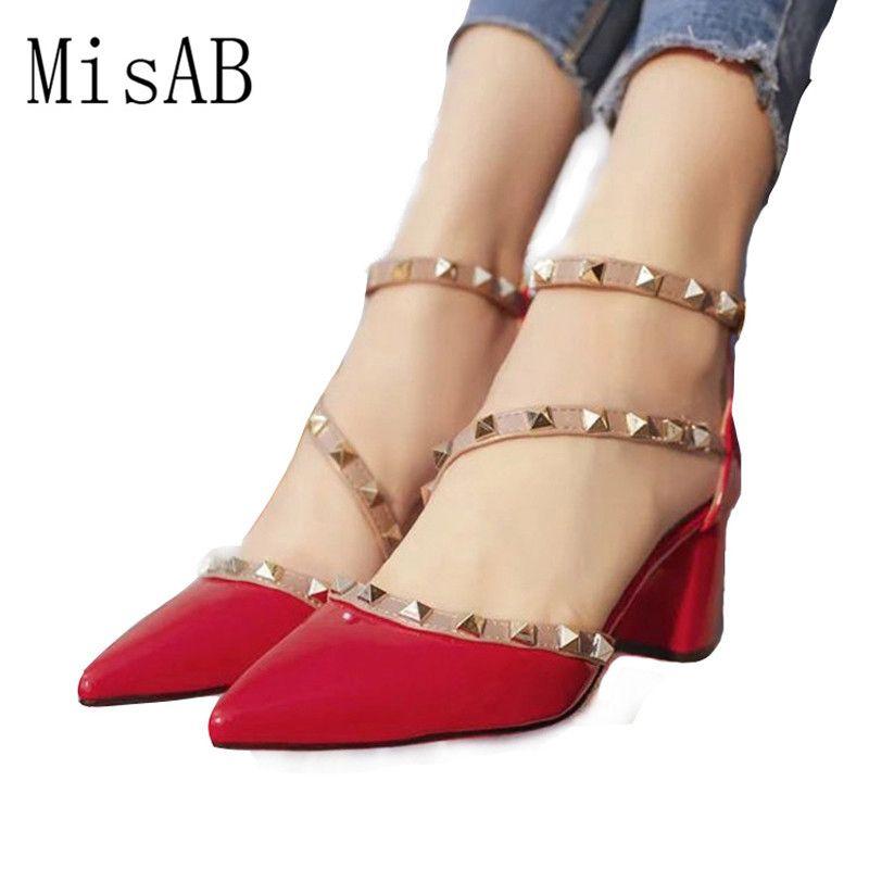 2016 femmes pompes mode nouveau design rivets femmes sandales confortable carré talons qualité haute talons d'été automne talons ALF204