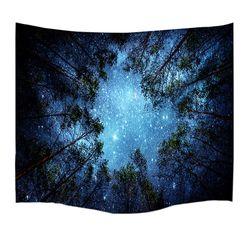 Psychedelic Pohon-pohon Hutan dan Bintang Langit Berbintang Kain Wall Hanging Permadani Dekorasi Polyester Gorden Plus Panjang Meja