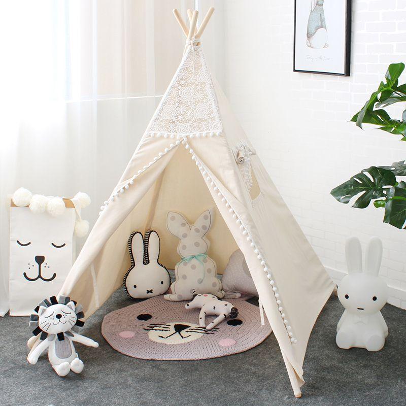 LM1318 Spitze Tipi Zelt Für Kinder Indische Baumwolle Teepees Für kinder Spielhaus Faltbare Spielen Zelt Für Baby-lesen Ecke Für mädchen