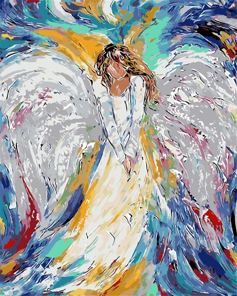 Couleur ange peinture lady Décor À La Maison abstrait figure dessin image Par Numéros Travail Manuel peinture par numéros salon Mur Art