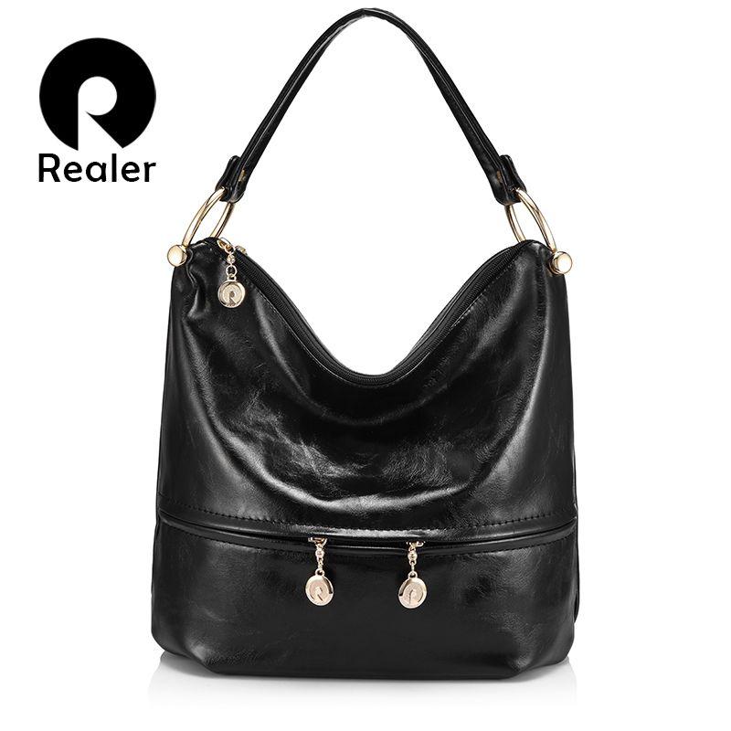REALER женская большая сумка хобо на ремне через плечо, сумки женские с короткими ручками высокого качества, роскошные сумки дизайнер с молние...