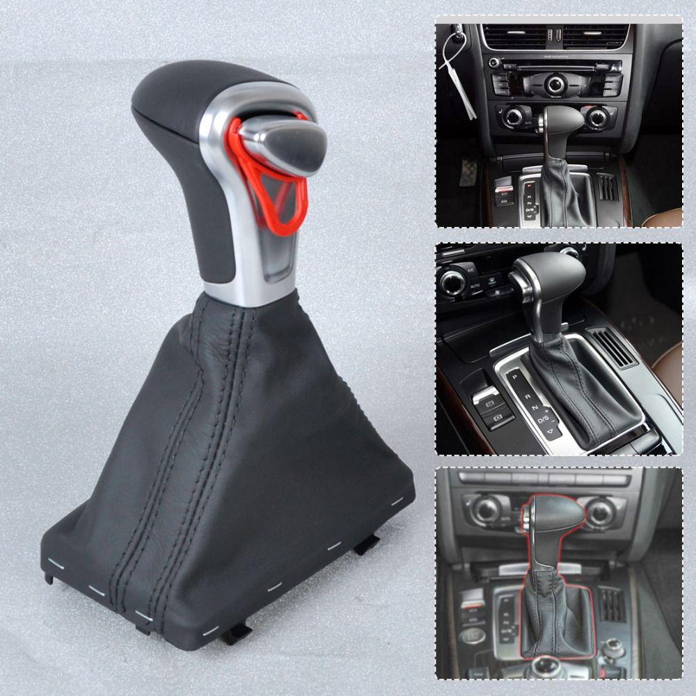CITALL For Audi A3 A4 A5 A6 Q7 Q5 2004~2010 2011 2012 2013 2014 2015 Silver Automatic AT Shift Knob + Black PU Leather Gaiter
