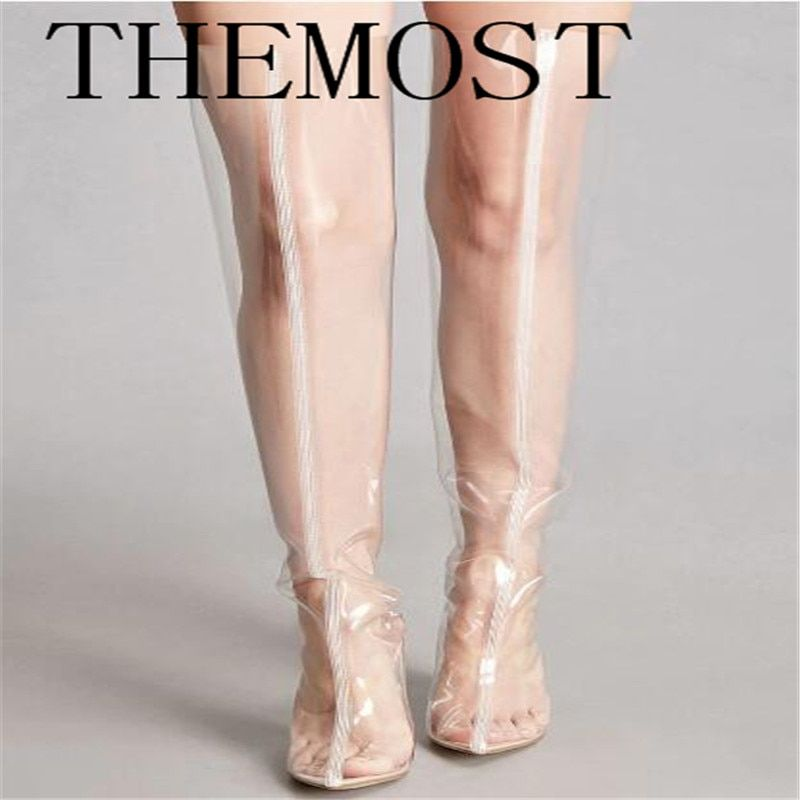 THEMOST Stylish Chyna Perspex Long Boots Clear Peep Toes Transparent PVC Over Knee Boots Women Tight Boots Block High Heel botas