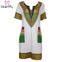 Wholesale 3XL Oversize Women Sexy Dashiki Dress Summer Print Vestidos African Dress For Women Traditional Clothing Bazin Riche