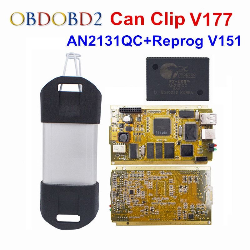 CYPERSS AN2131QC Full Chip For Renault Can Clip V177 + Reprog V151 Auto Diagnostic Interface Gold Side PCB CAN Clip For Renault