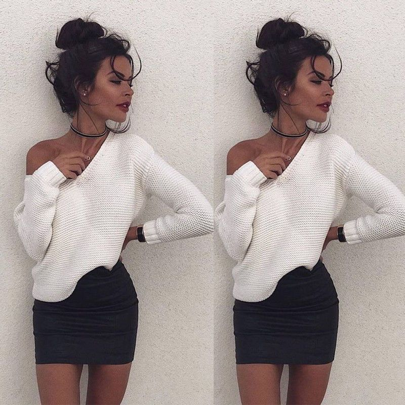 Womens Long Sleeve Pullover Tops Casual Shoulder Sweaters Jumper Autumn Coat