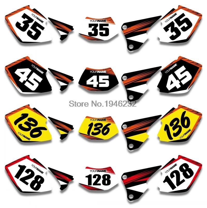 Custom Number Plate Backgrounds Graphics Sticker & Decals Kit For KTM EXC 125/200/250/300/400/450/525 2003