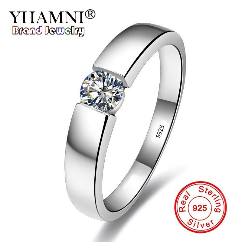 YHAMNI Original Solid 925 Sterling Silver Rings for Women and Men set 6mm 1Ct CZ Zirconia Ring Wedding Fine jewelry WRD10