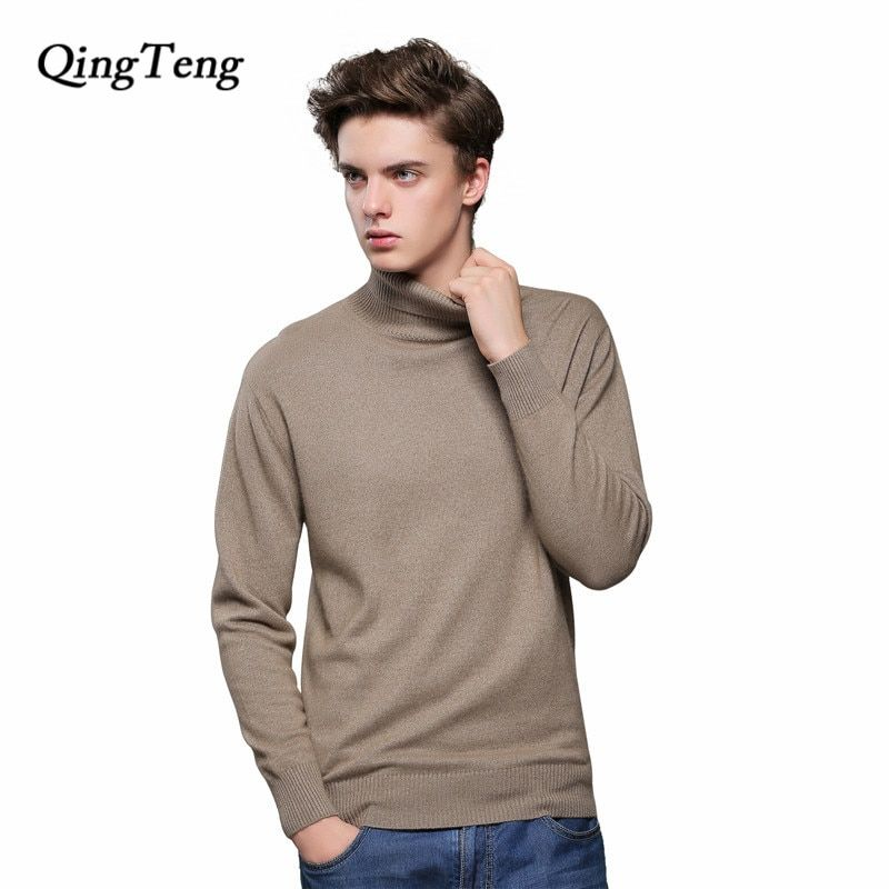 Sweater Male Cashmere Black Turtleneck Men's Jacket With High Collar Wool Knitted Big Size Jersey Tmall Supplier Brand Clothing