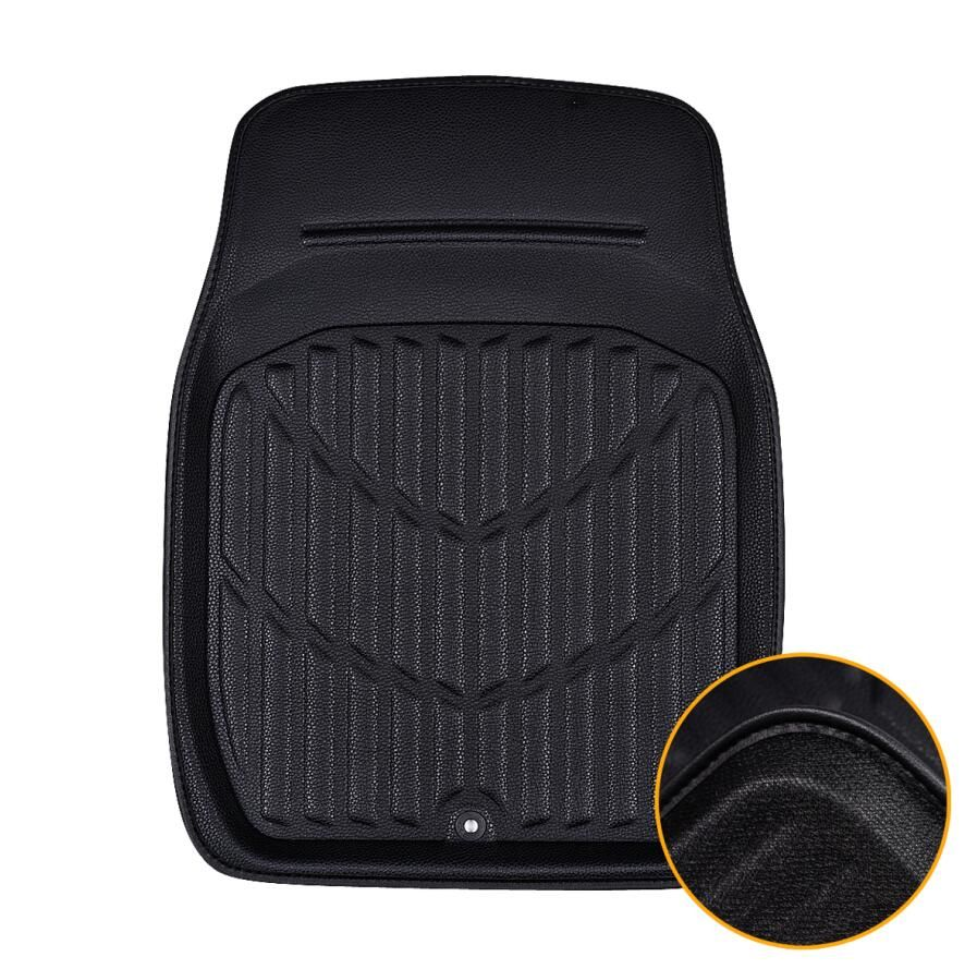 Car-pass 1 Piece Universal Car Floor Mat Black / Red Automobile Interior Accessories Front  Carpet Heavy Duty Floor Mat