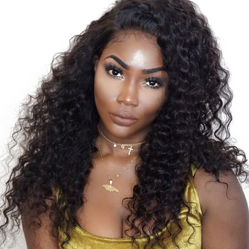 360 Lace Frontal Wig Pre Plucked With Baby Hair Brazilian Deep Wave Lace Front <font><b>Human</b></font> Hair Wigs For Women Natural Black Remy CARA