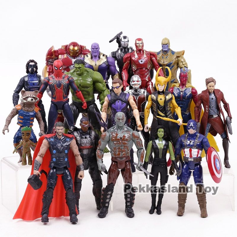 Avengers Infinity War Marvel Super Heroes Toys Iron Man Captain America Hulk Thanos Spiderman Action Figure Set Collectible Toy