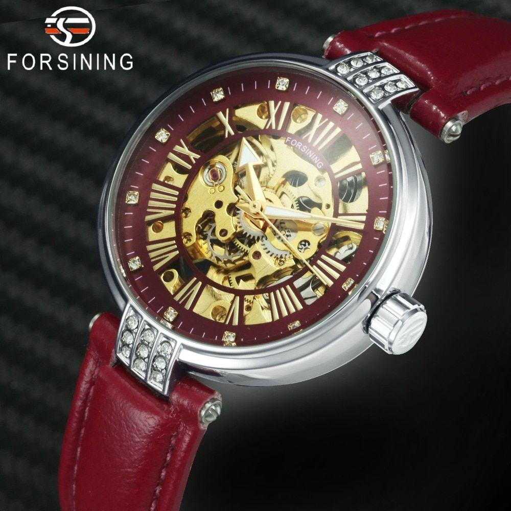 FORSINING Top Brand Luxury Women Watches Red Leather Strap Auto Mechanical Skeleton Dial Crystal Fashion Royal Ladies Watch 2019