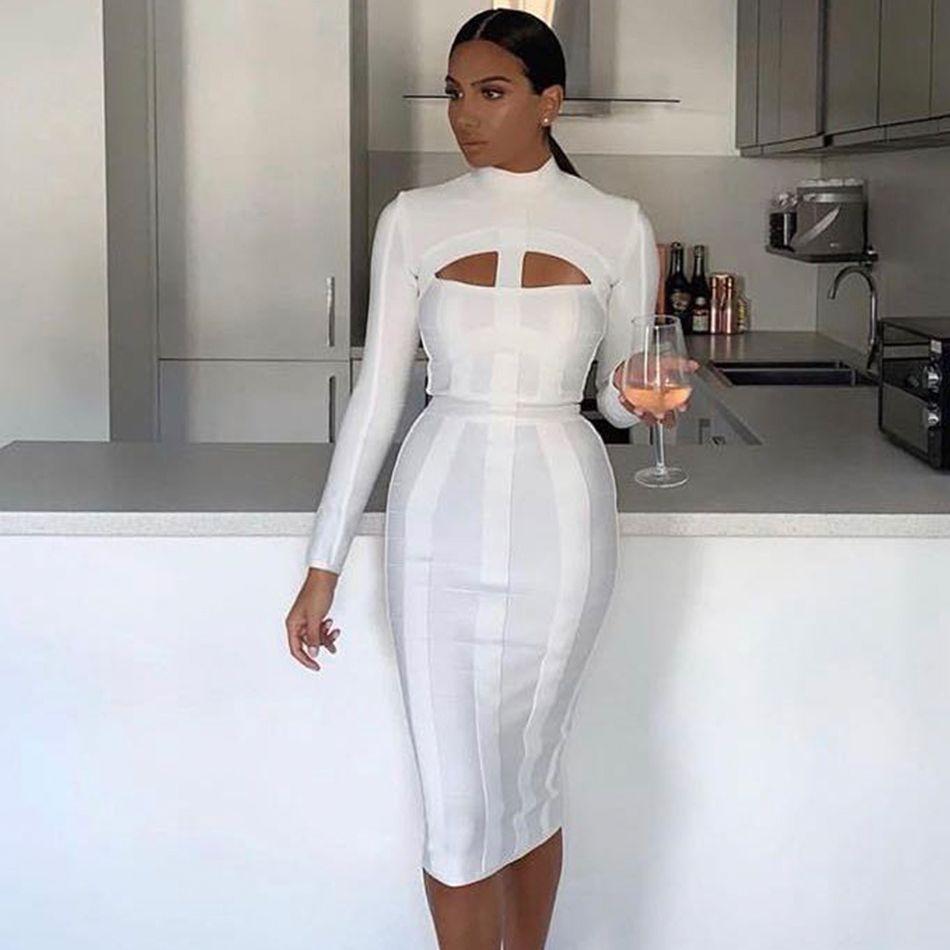 Couturière nouvelle robe Bandage été Sexy évider robes femmes élégant blanc moulante Club Midi célébrité robe de soirée Vestidos