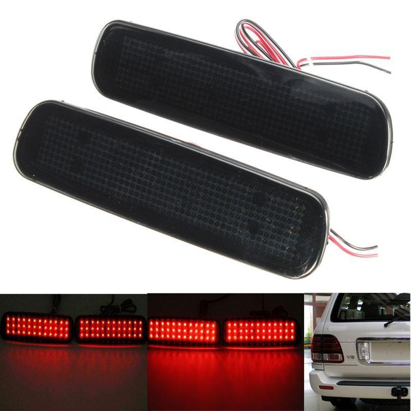 2 шт. автомобиль красный туман объектив заднего бампера Отражатели Хвост тормоза SMD LED свет туман для Lexus LX470 ночного вождения run Тормозная Сто...