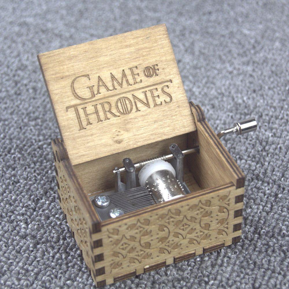 Regalos de Navidad Star Wars Juego de tronos Harry Potter feliz Navidad tema hecho a mano grabado de madera caja de música artesanía Cosplay